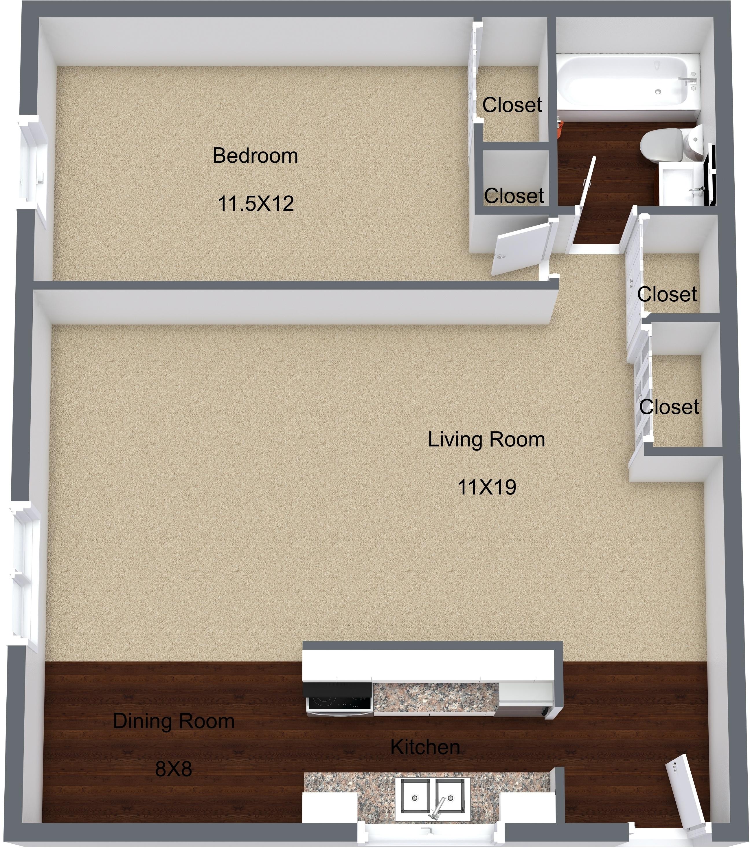 One Bedroom Upper
