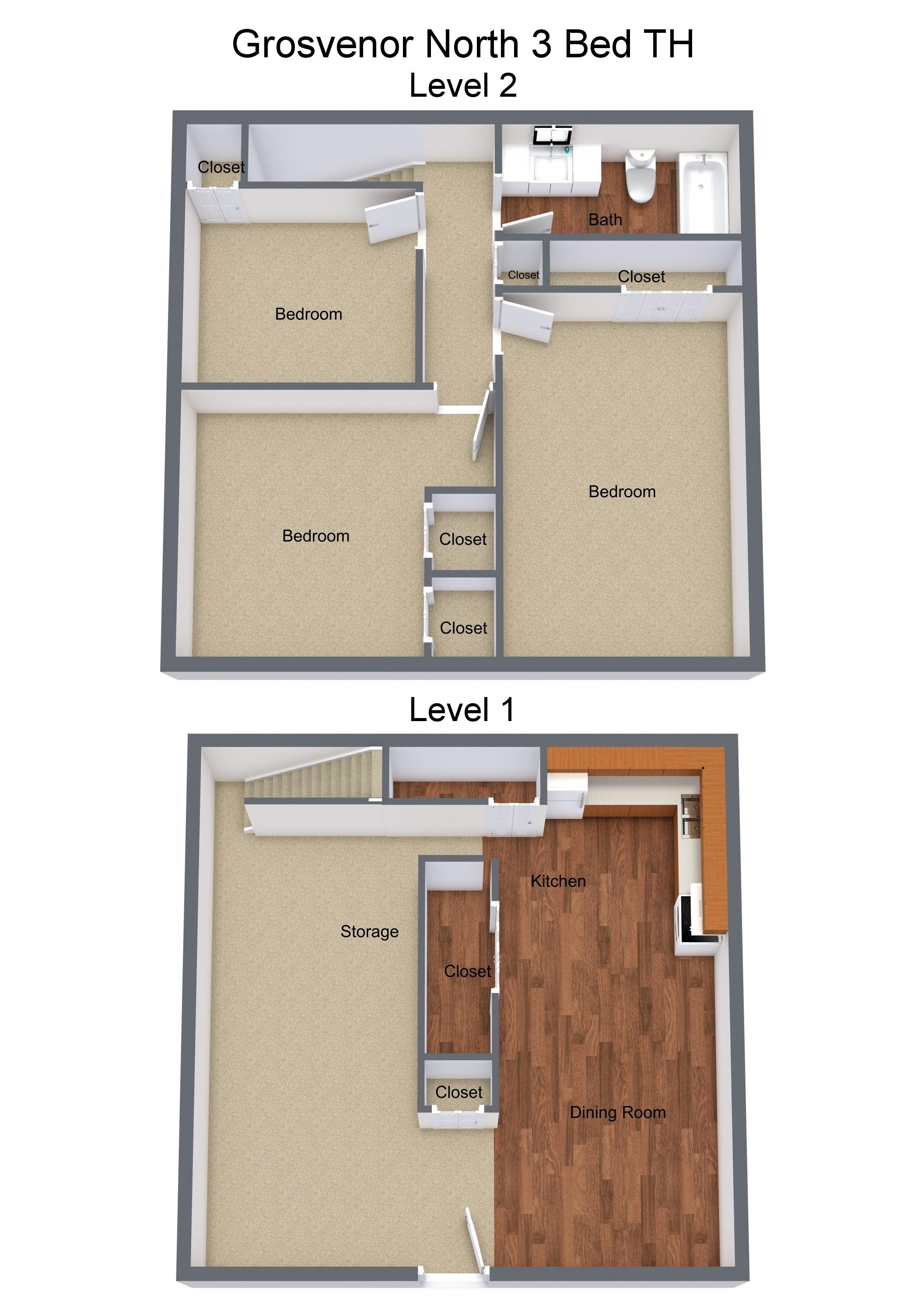 Three Bedroom Townhome Original Kitchen
