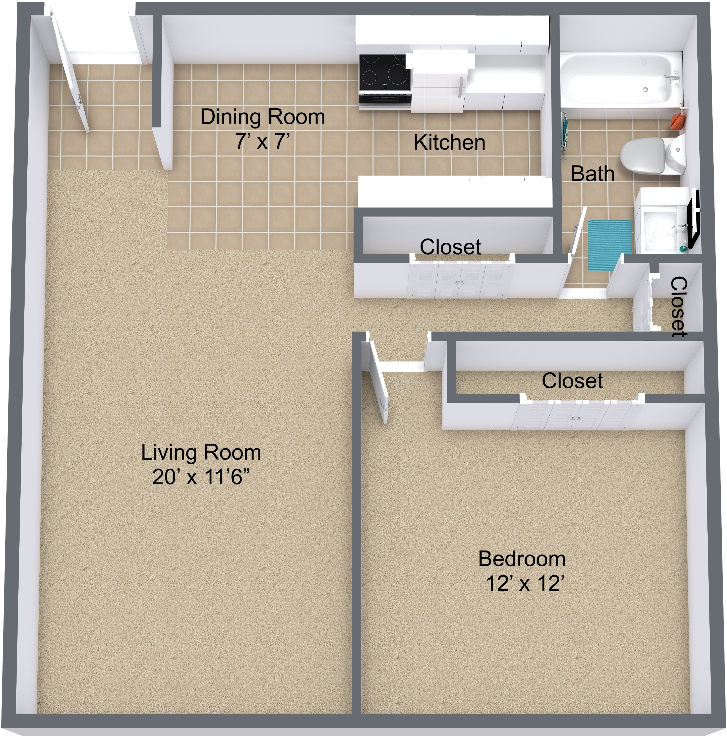 One Bedroom Private Entry