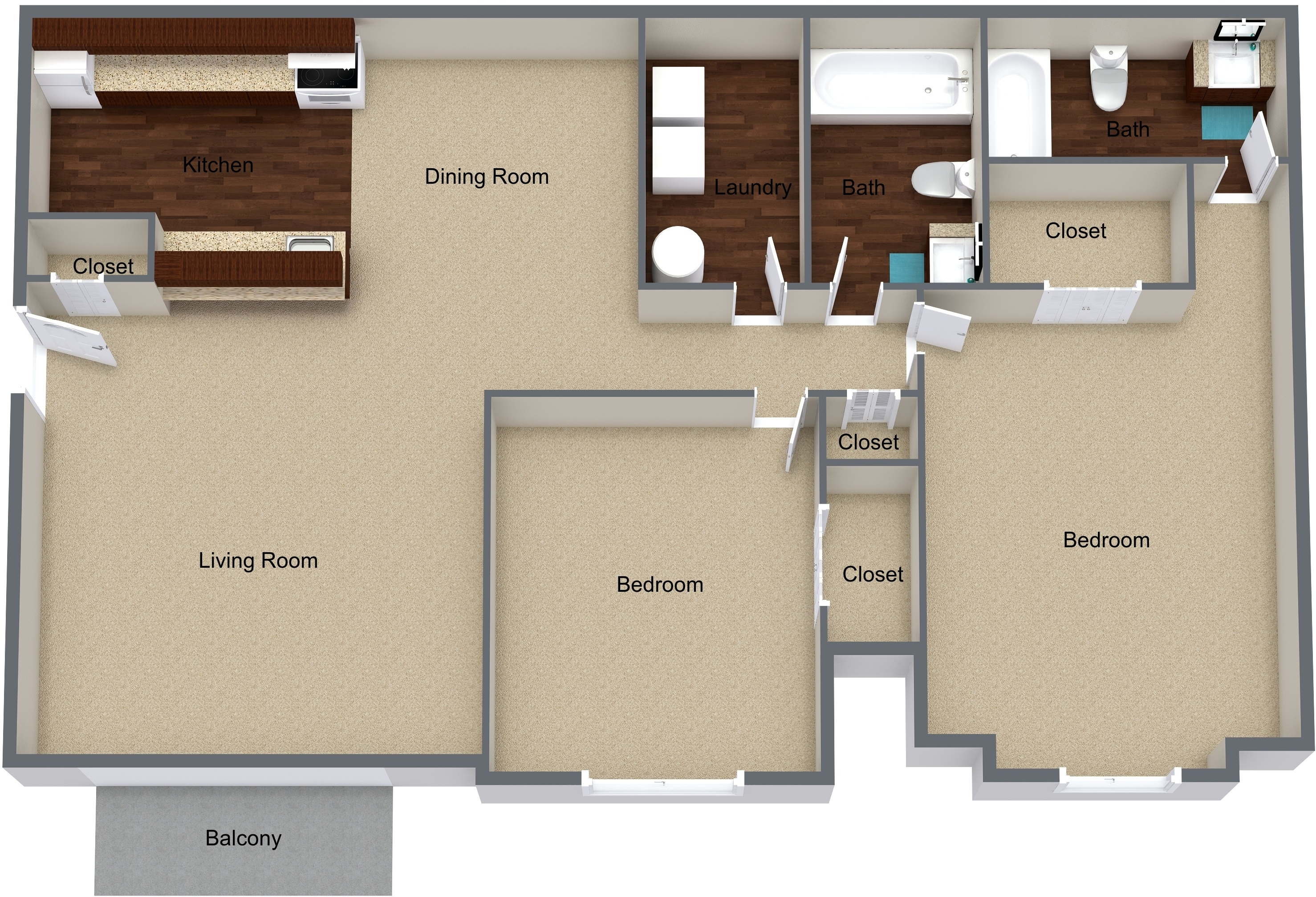 Two Bedroom First Floor Remodeled
