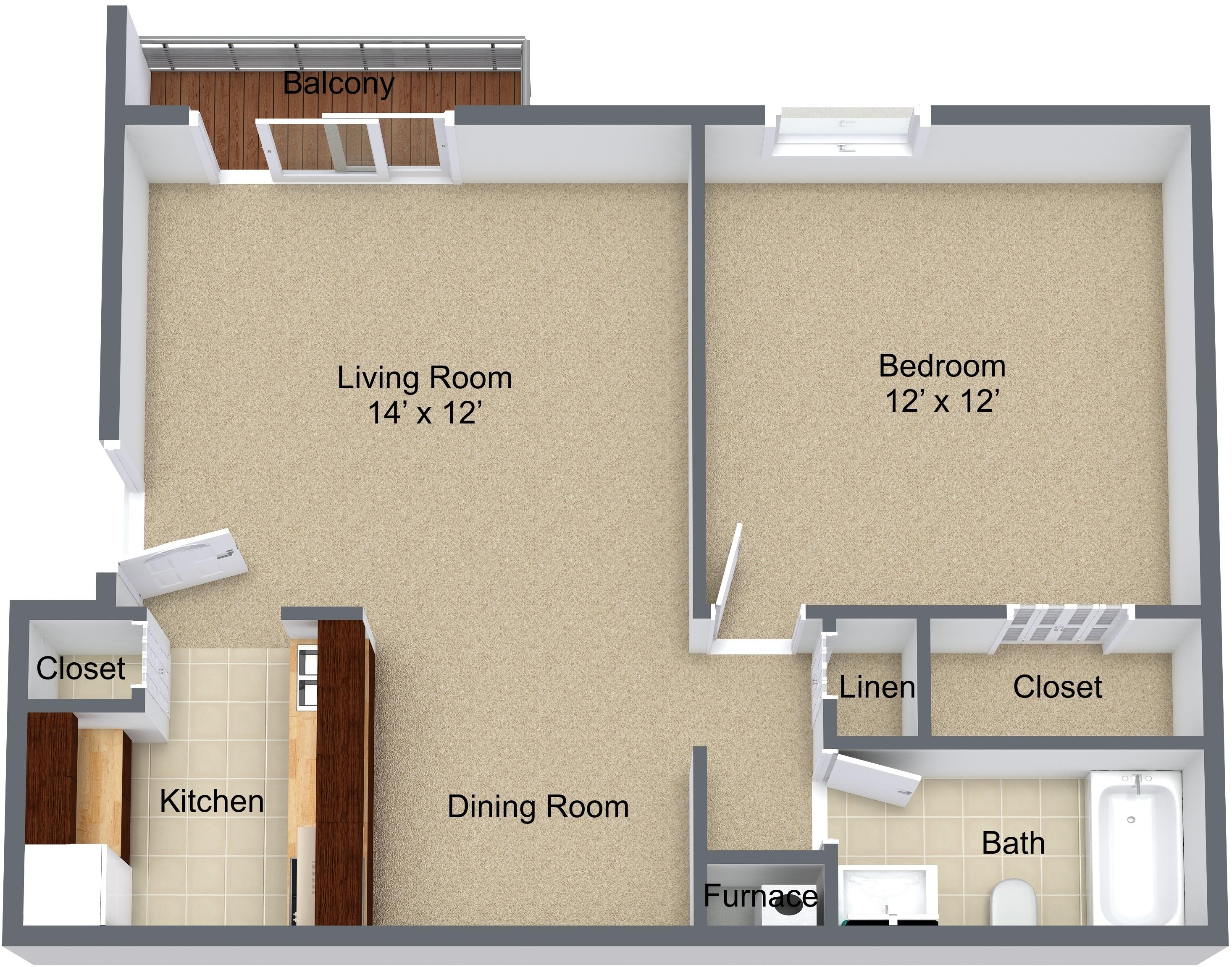 One Bedroom Balcony