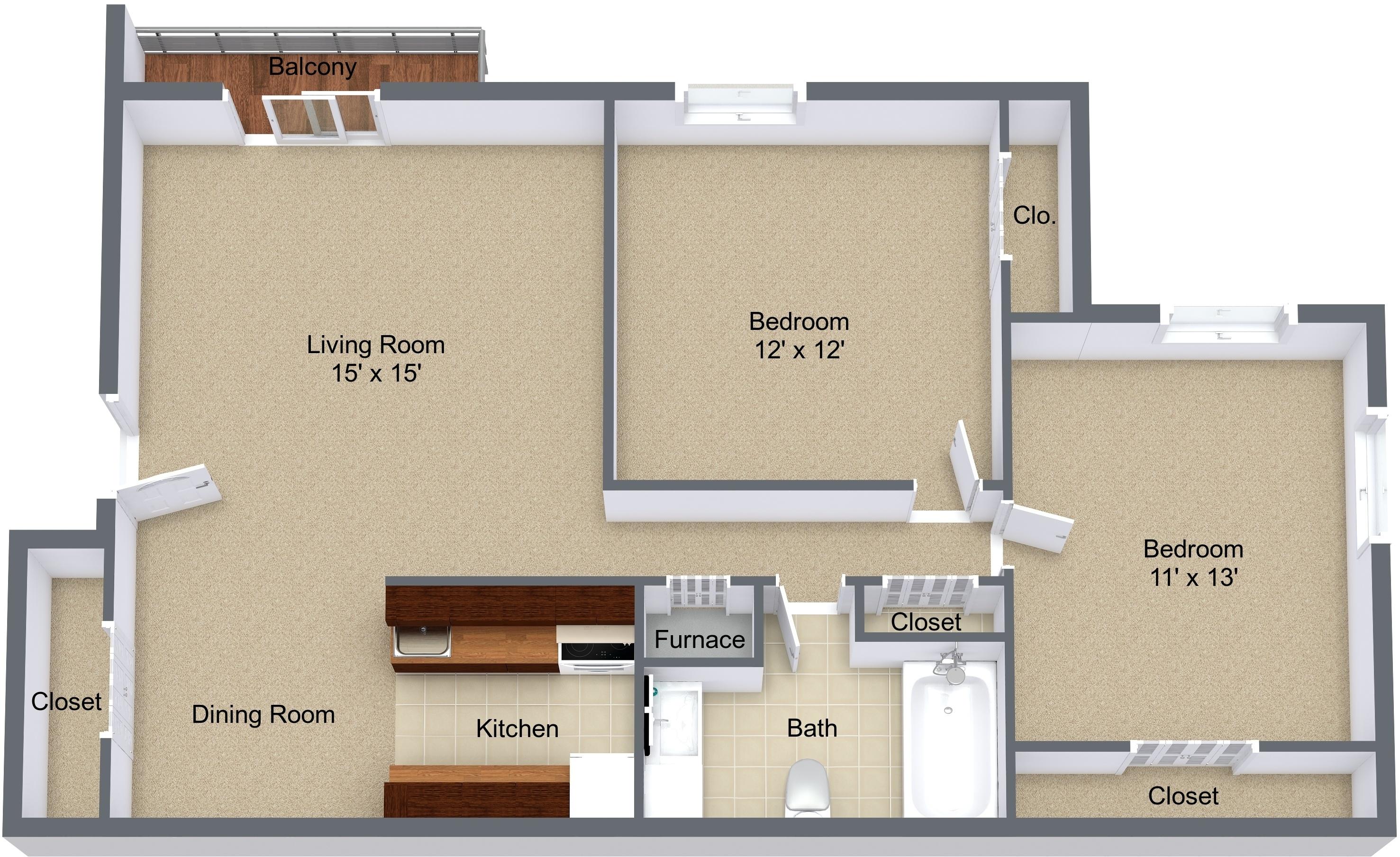 Two Bedroom Balcony