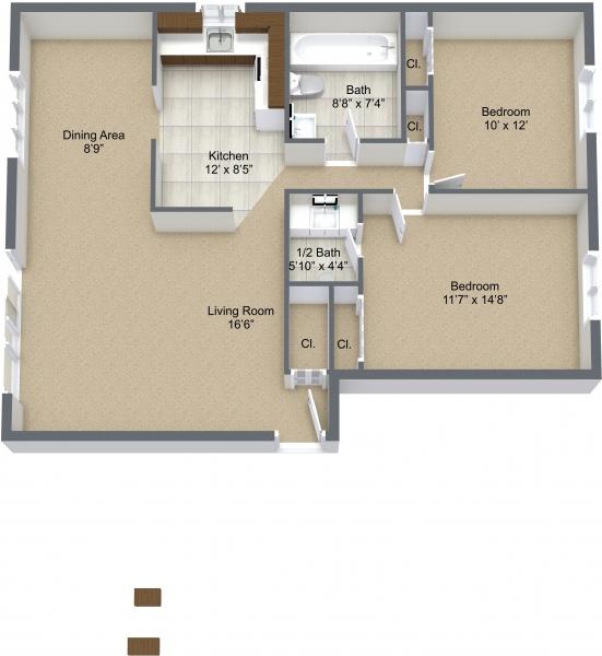 Two Bedroom Mid/Corner