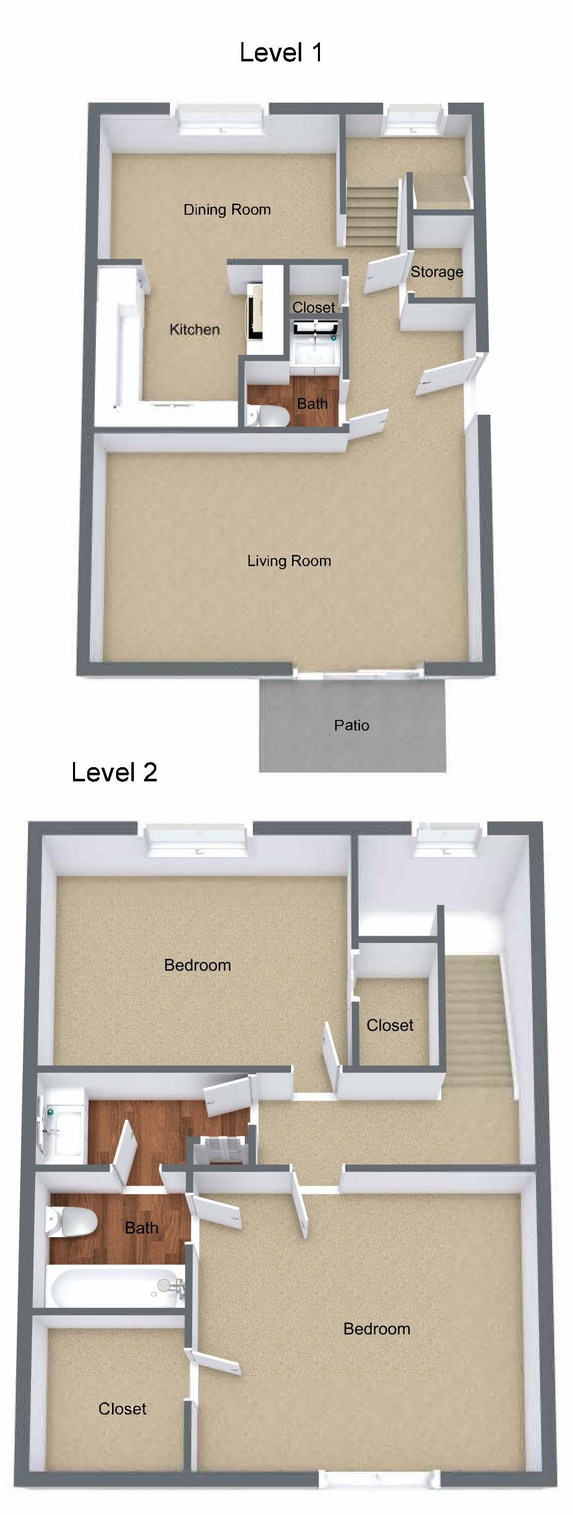 Two Bedroom Townhome Large