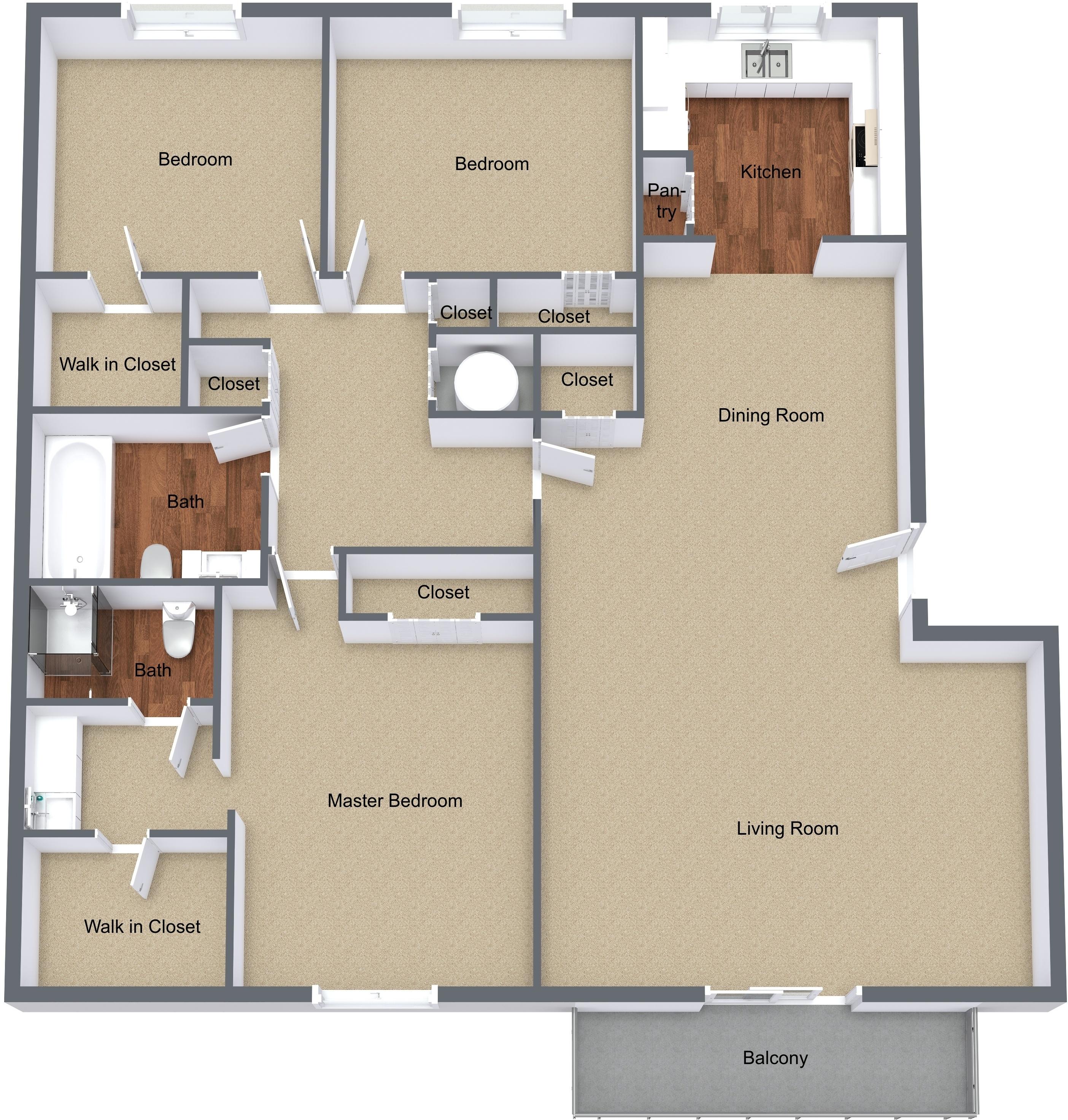 Three Bedroom Large