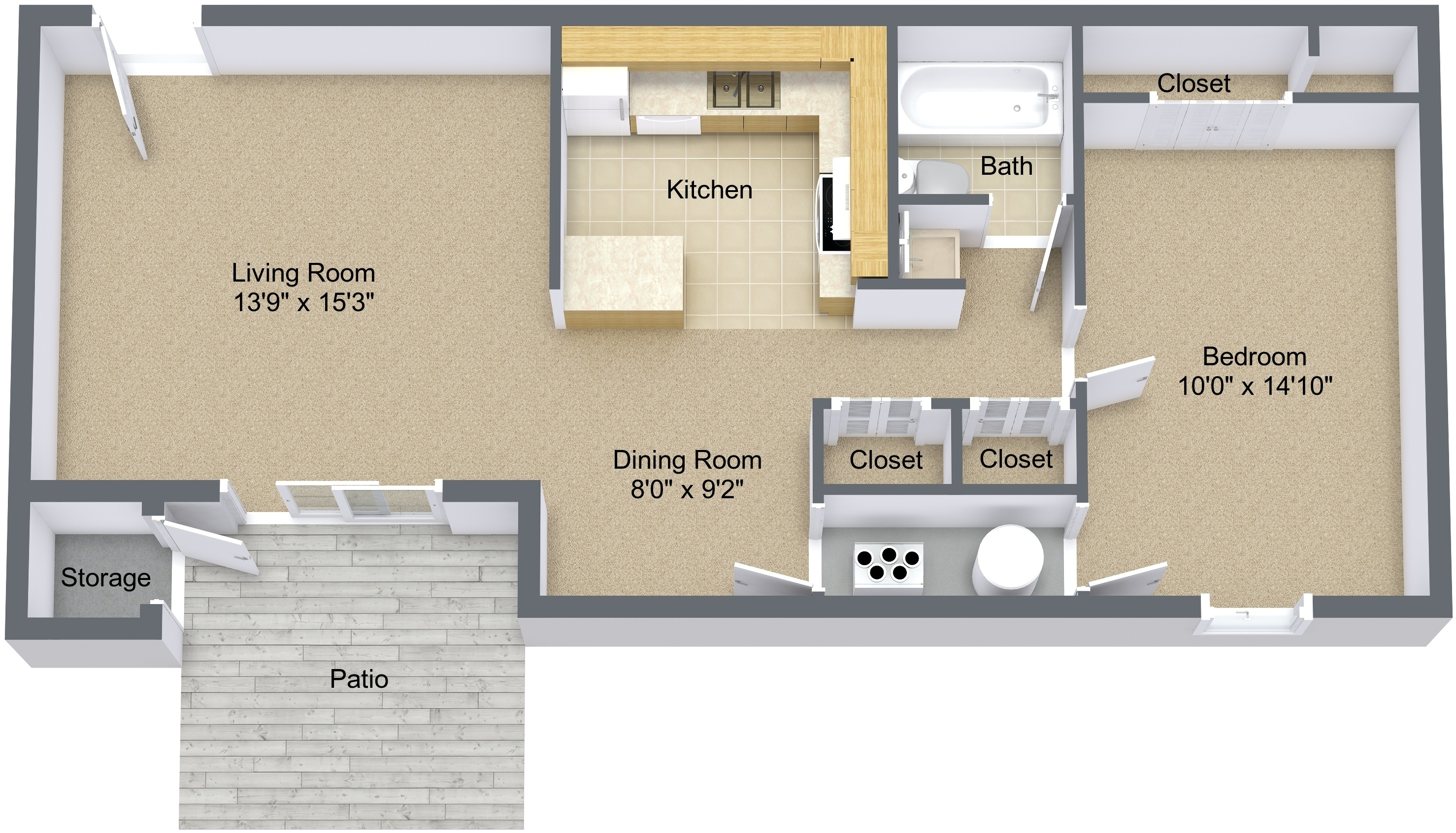One Bedroom Large Lower