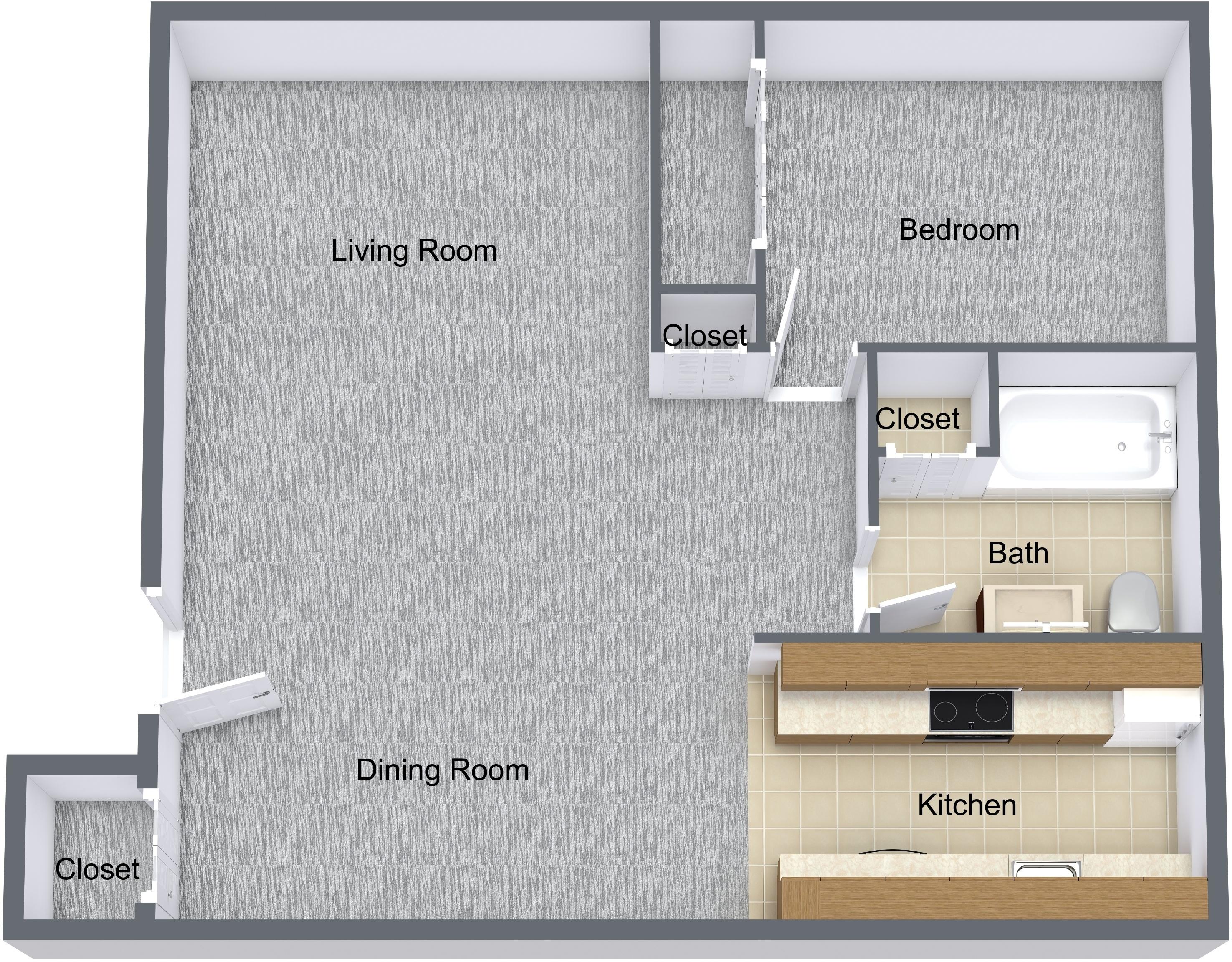 One Bedroom Patio/Balcony