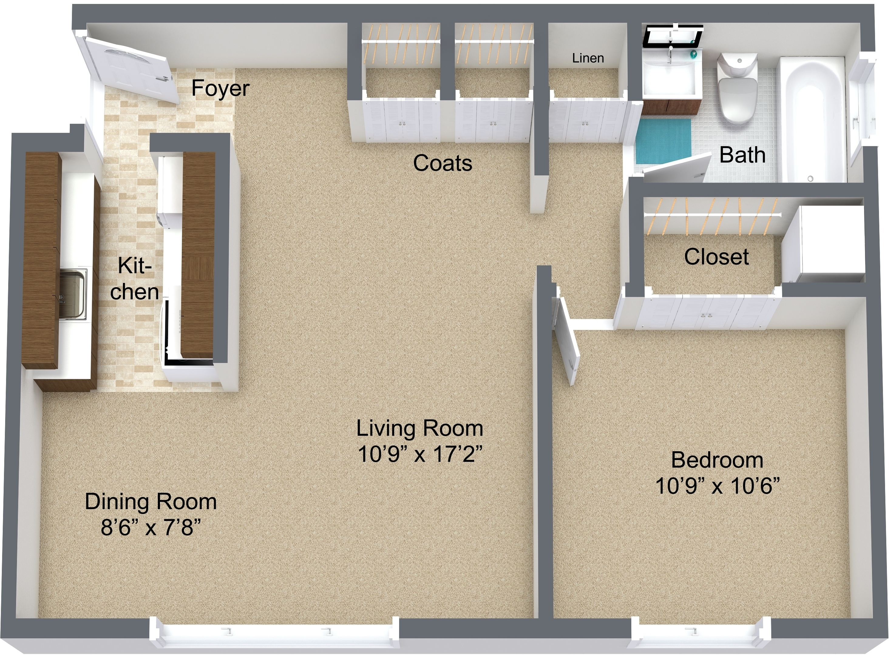 One Bedroom Upper