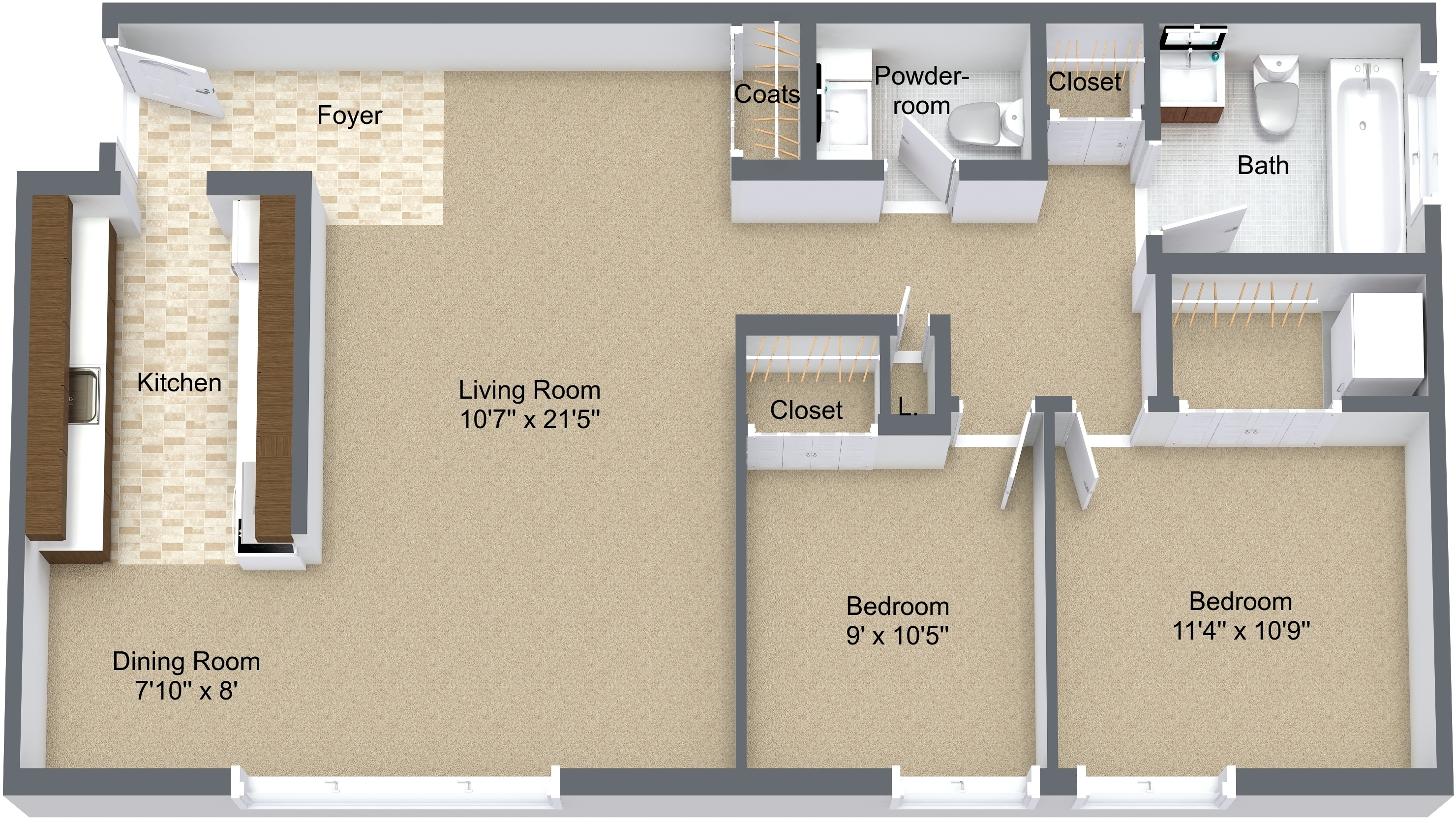 Two Bedroom Lower