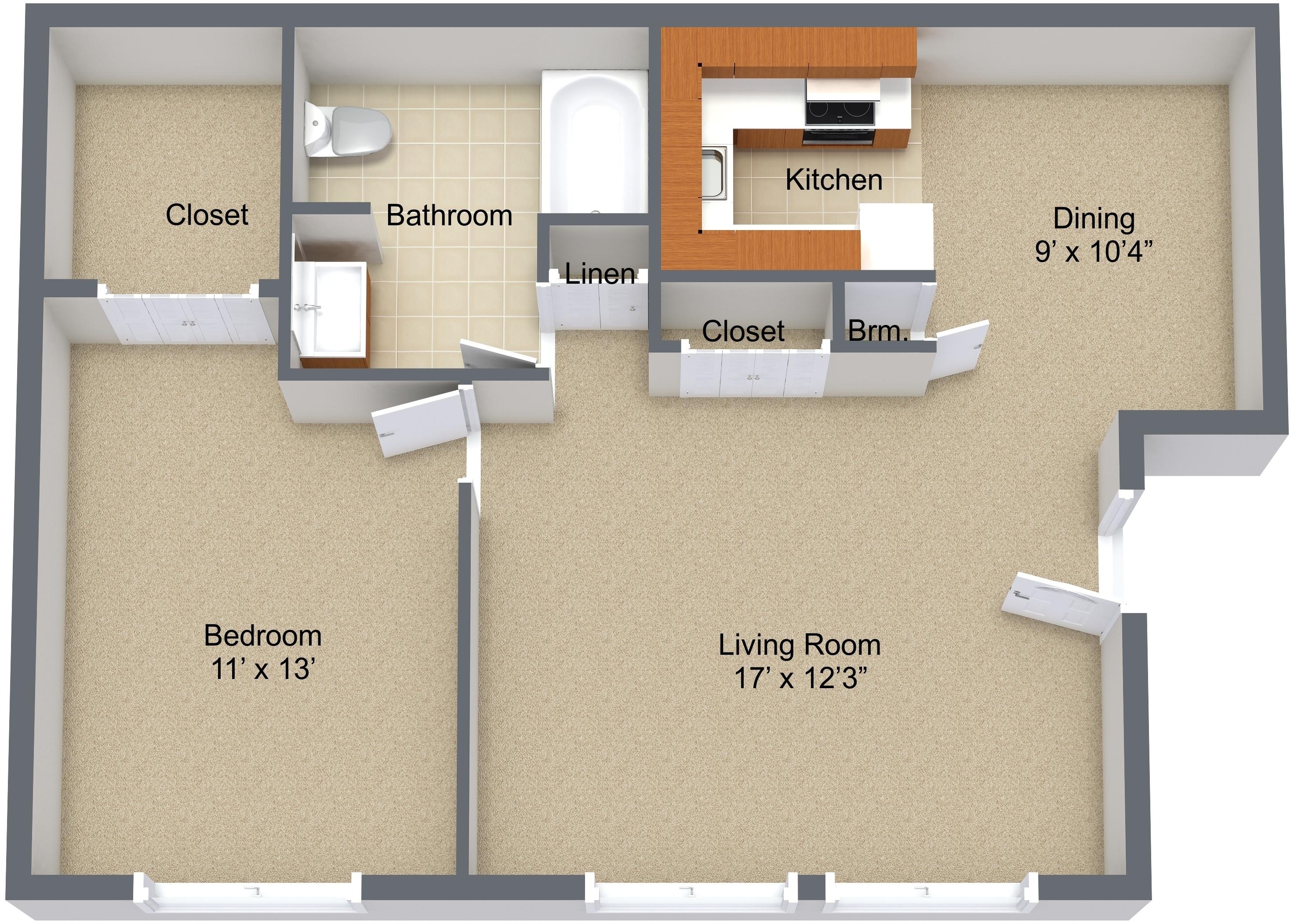 One Bedroom Mid Level
